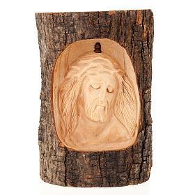 Bassorilievo legno Volto di Cristo occhi chiusi s1