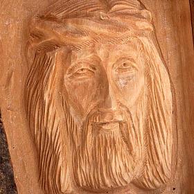 Bas relief en bois, visage du Christ, les yeux ouverts s4