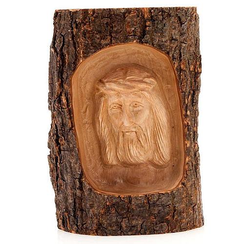 Bas relief en bois, visage du Christ, les yeux ouverts 1