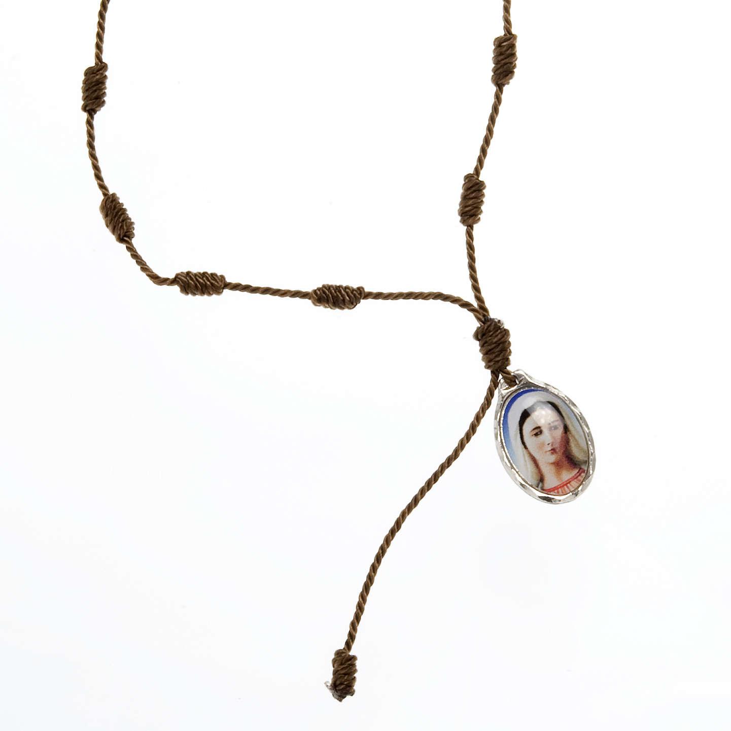 Bracciale decina corda regolabile Padre Pio - Madonna 4
