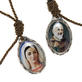 Bracciale decina corda regolabile Padre Pio - Madonna s1