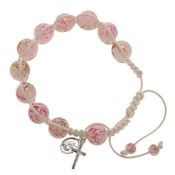 Bracciale decina corda perline vetro rosa 4