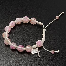 Bracciale decina corda perline vetro rosa s2