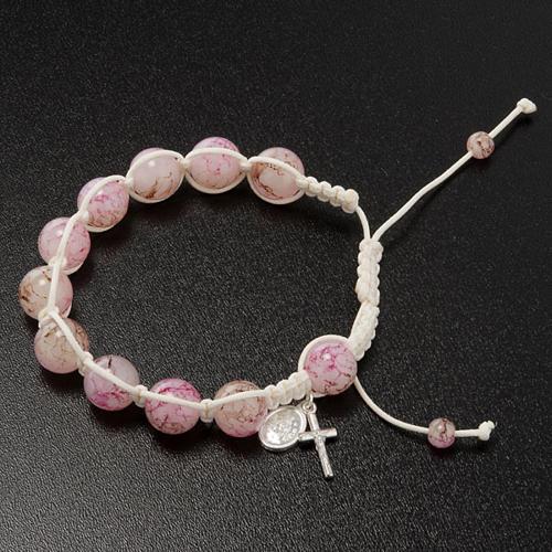 Bracciale decina corda perline vetro rosa 2