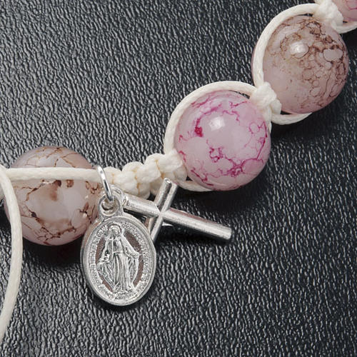 Bracciale decina corda perline vetro rosa 3
