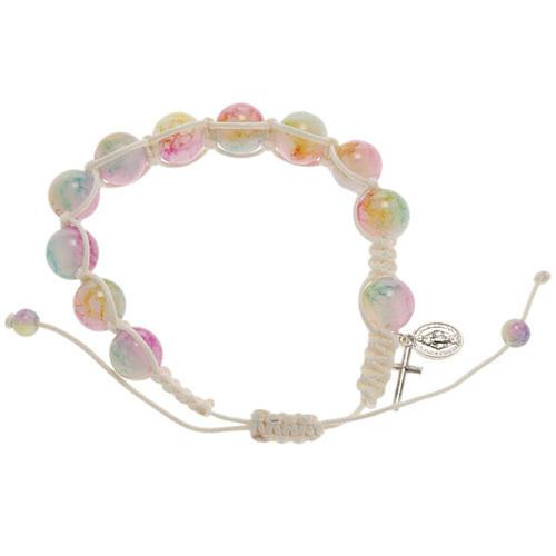 Bracelet dizainier corde perles verre multicolore 1