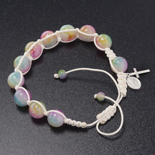 Bracelet dizainier corde perles verre multicolore 3