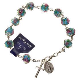 Bransoletka dziesiątka różańca kryształki w kształcie ziarenek 10 X 7mm błękitny s1