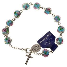 Bransoletka dziesiątka różańca kryształki w kształcie ziarenek 10 X 7mm błękitny s2