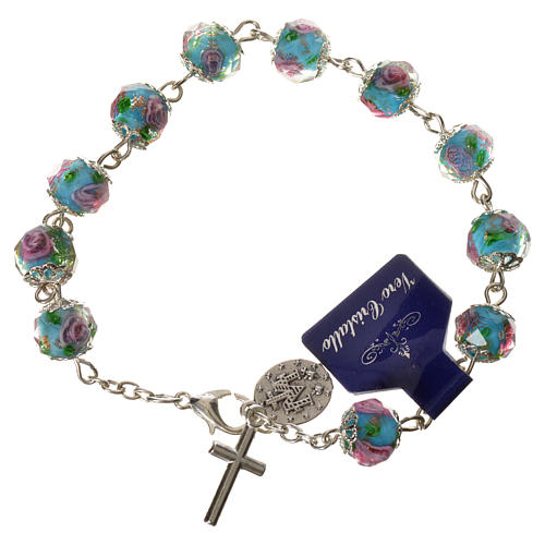 Bransoletka dziesiątka różańca kryształki w kształcie ziarenek 10 X 7mm błękitny 2