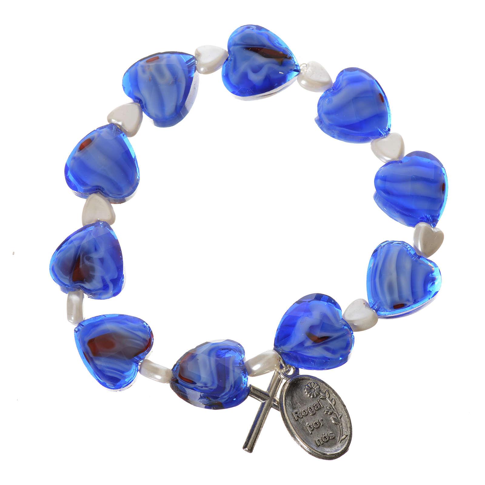 Decena elástico semi cristal corazón 12x12mm Azul 4
