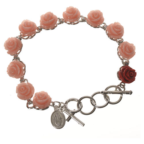 Single decade bracelet with roses 1