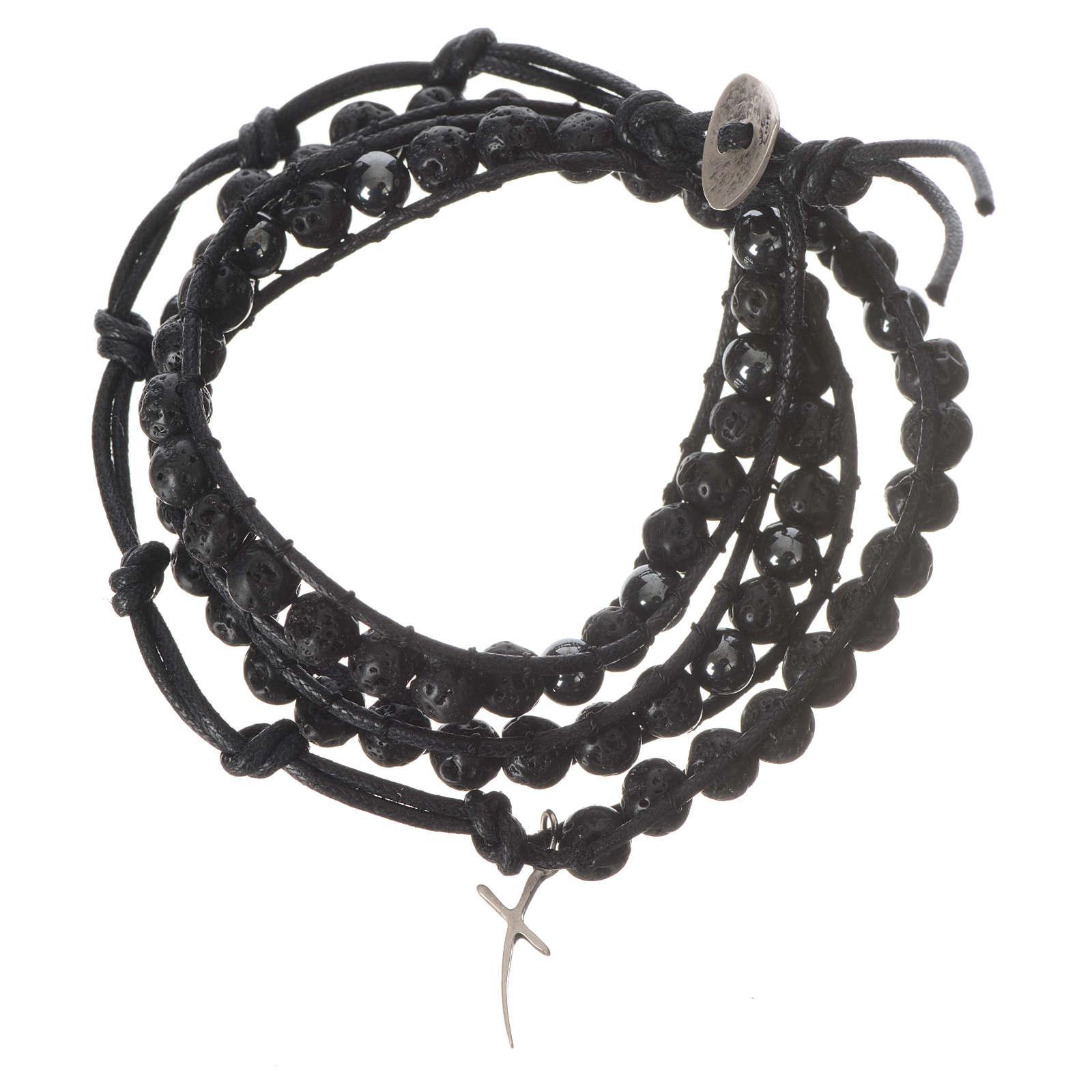 Bracelet chapelet en pierre de lave et hématite 6mm 4