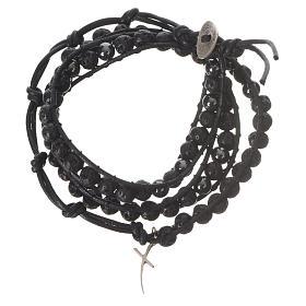 Bracelet chapelet en pierre de lave et hématite 6mm s1