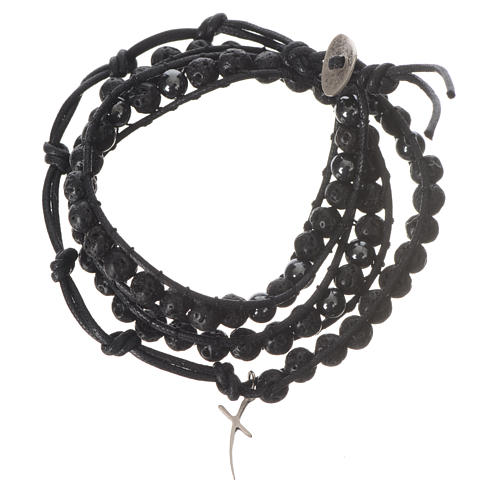 Bracelet chapelet en pierre de lave et hématite 6mm 1