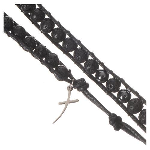 Bracelet chapelet en pierre de lave et hématite 6mm 2