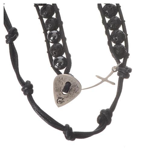 Bracelet chapelet en pierre de lave et hématite 6mm 3