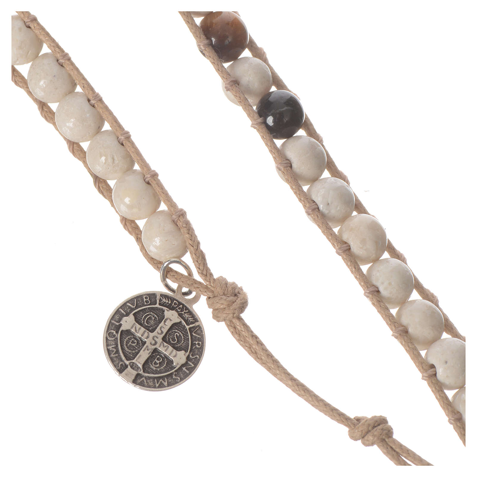 Bracelet chapelet pierre fossile 6mm 4