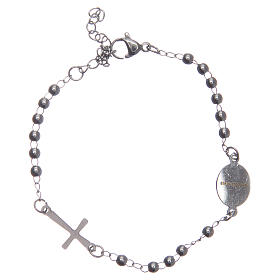 Leather rosary bracelet silver colour 316L stainless steel s2