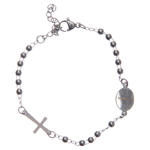 Leather rosary bracelet silver colour 316L stainless steel 2