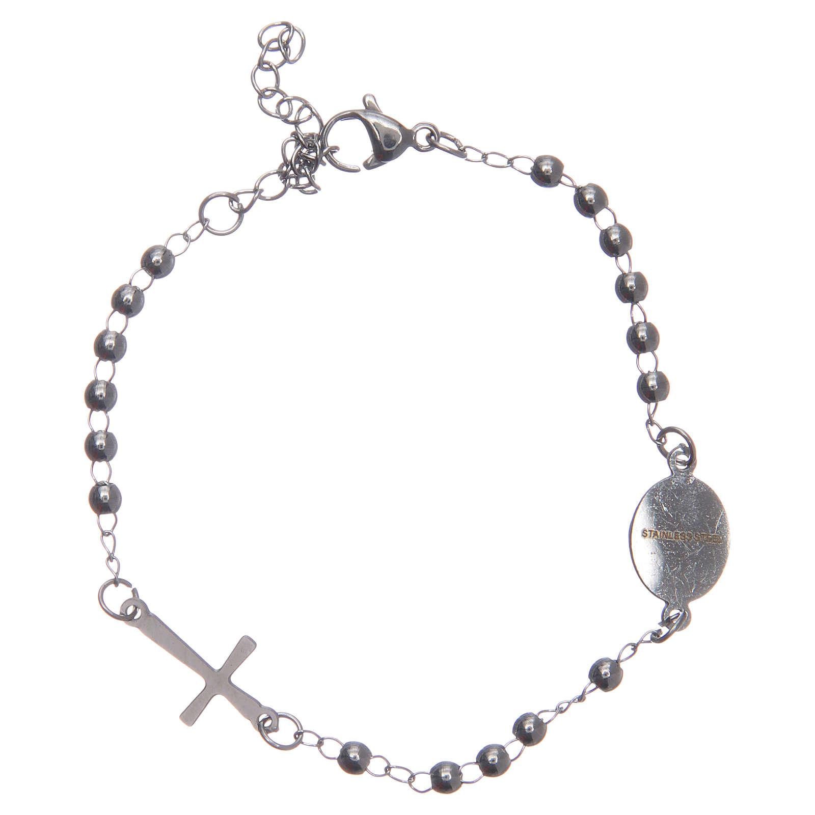 Pulsera rosario color silver acero 316L 4