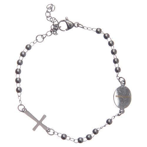 Pulsera rosario color silver acero 316L 2