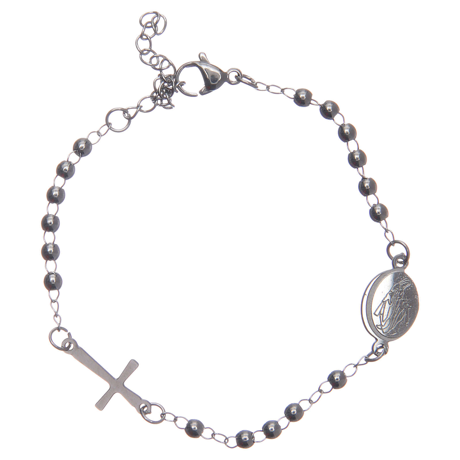 Leather rosary bracelet silver colour 316L stainless steel 4
