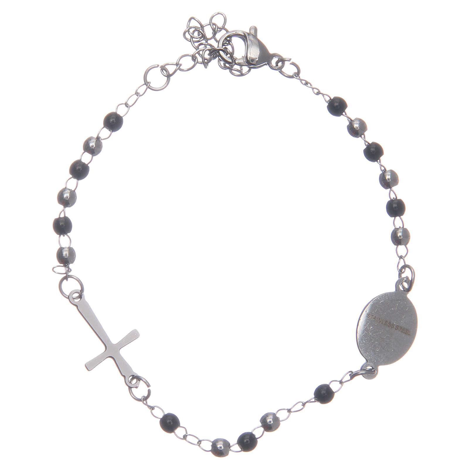Bracciale rosario classico silver nero acciaio 316L 4