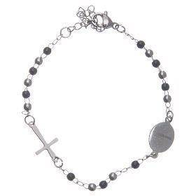 Bracciale rosario classico silver nero acciaio 316L s2