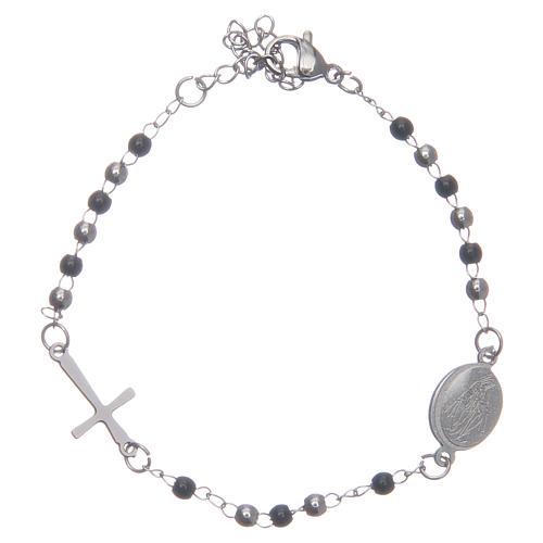 Bracciale rosario classico silver nero acciaio 316L 1