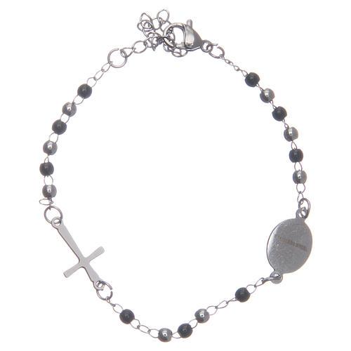 Bracciale rosario classico silver nero acciaio 316L 2