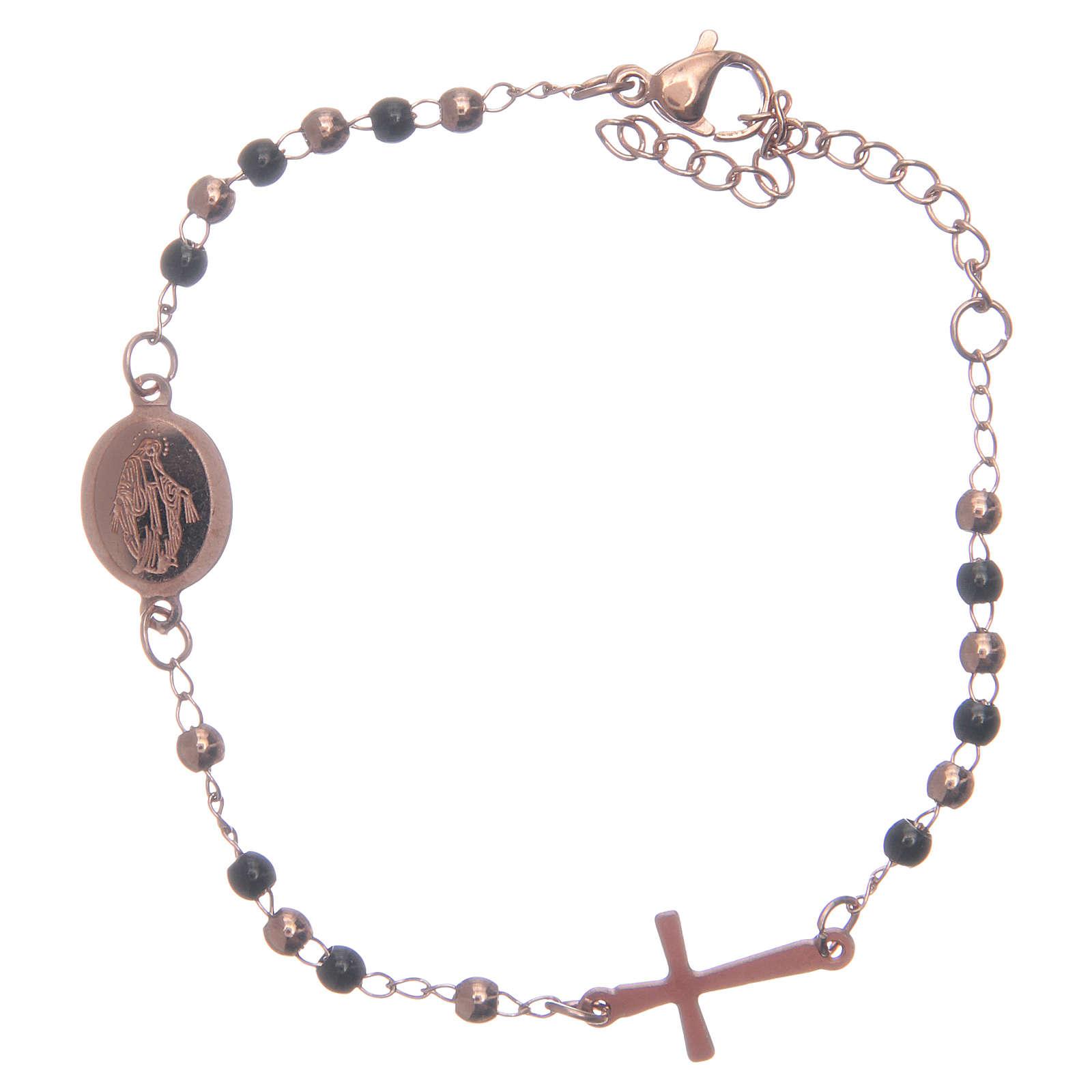 Rosary bracelet rosè black 316L stainless steel 4