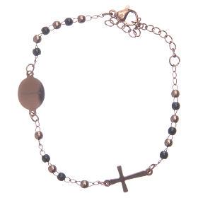 Rosary bracelet rosè black 316L stainless steel s2