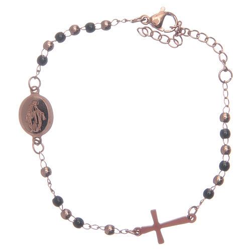 Rosary bracelet rosè black 316L stainless steel 1