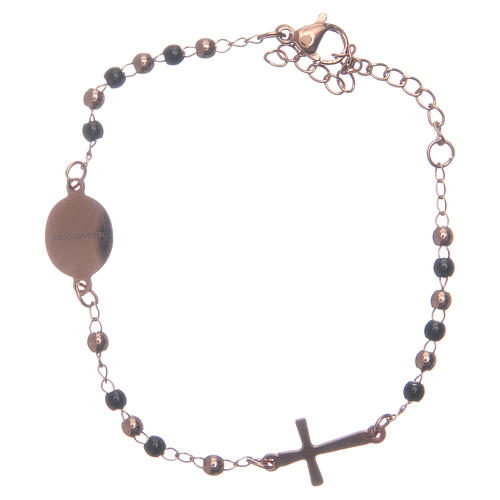 Rosary bracelet rosè black 316L stainless steel 2
