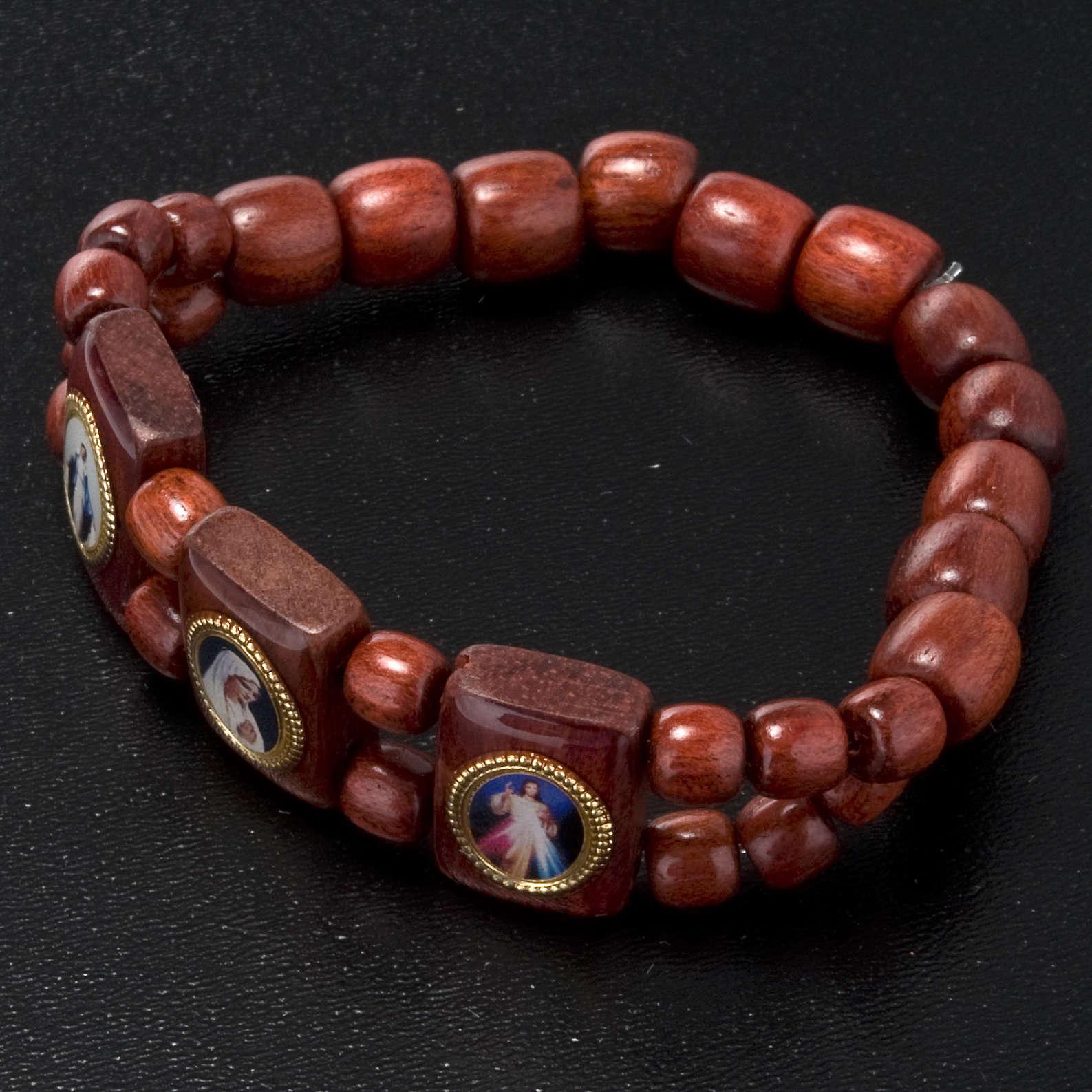 Bracelet élastique images pieuses marron Vierge Marie 4