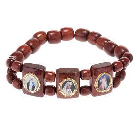 Bracelet élastique images pieuses marron Vierge Marie s1