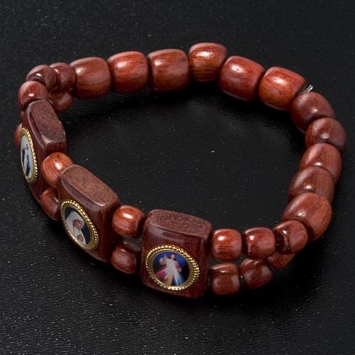 Bracelet élastique images pieuses marron Vierge Marie 2