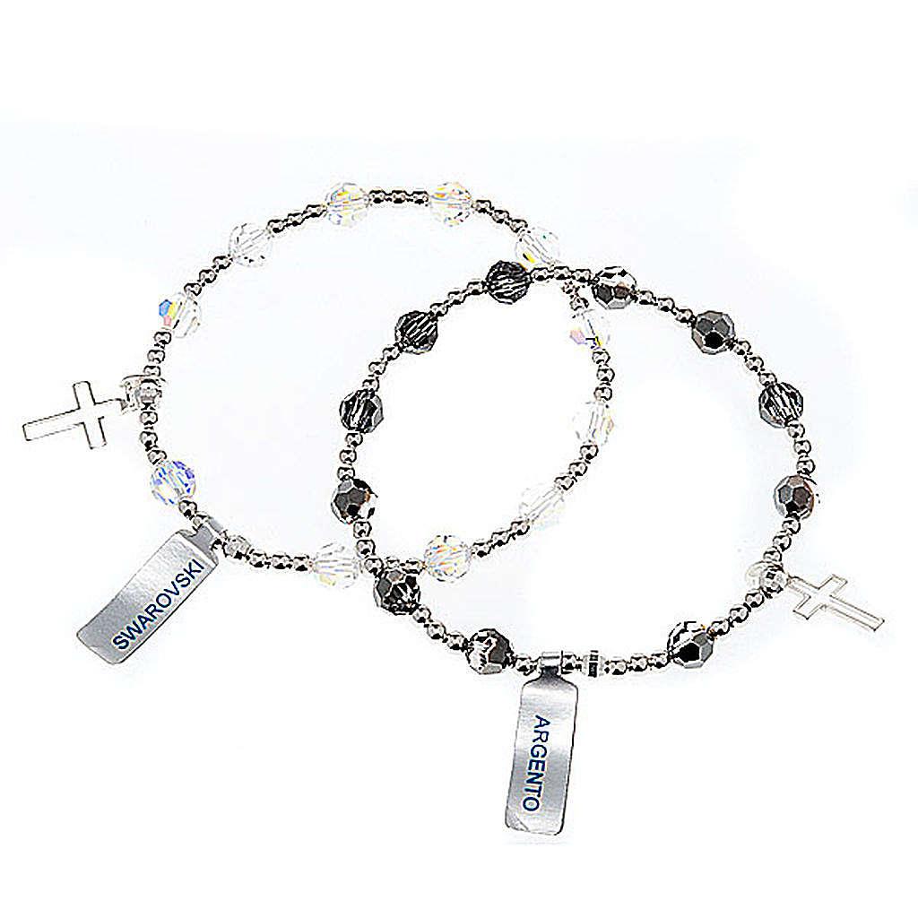 Bracciale elastico Argento e Swarovski 4