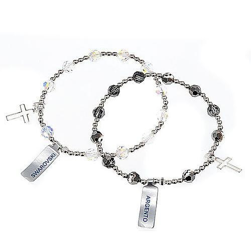 Bracciale elastico Argento e Swarovski 1
