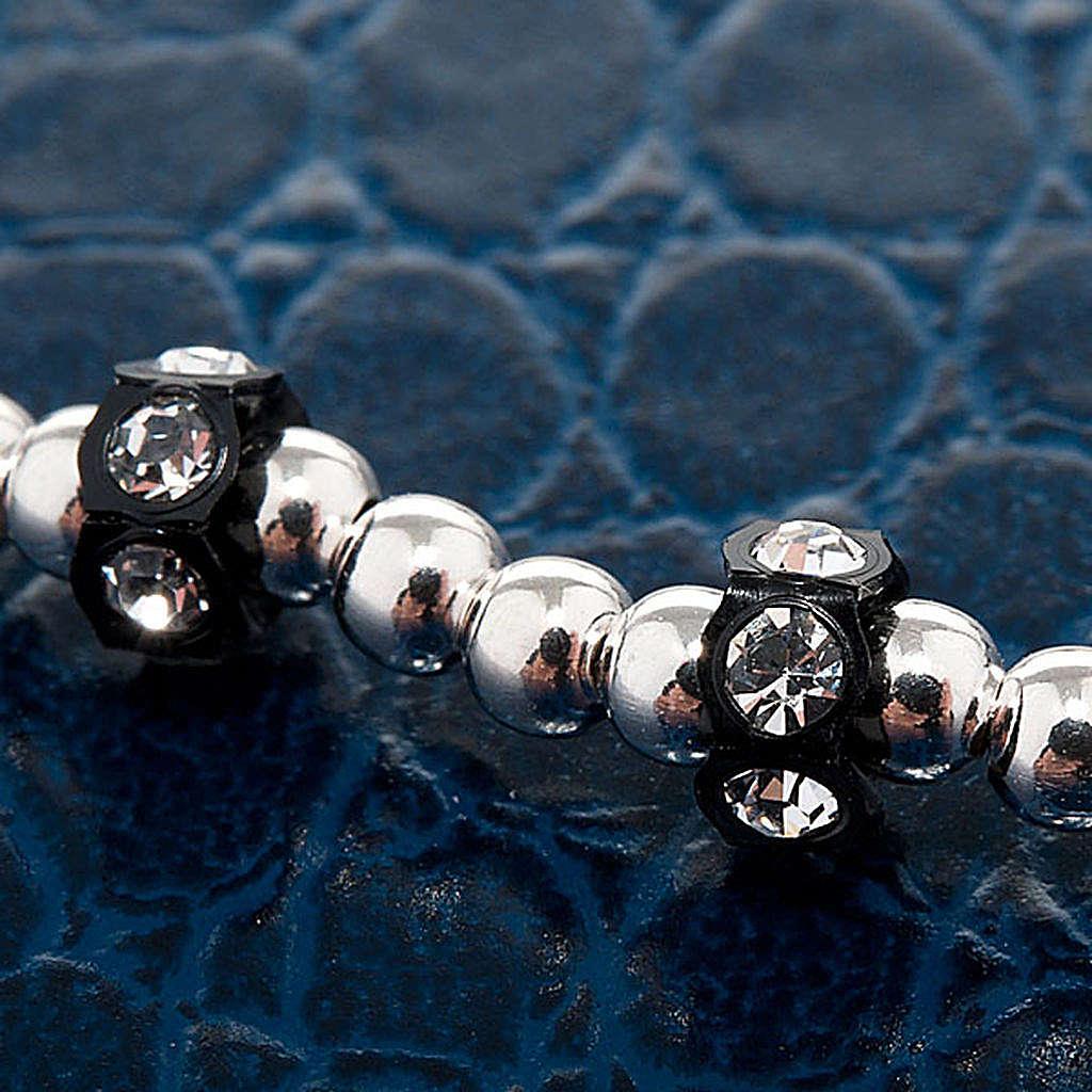 Bracelet élastique argent 800, swarovski noir 4