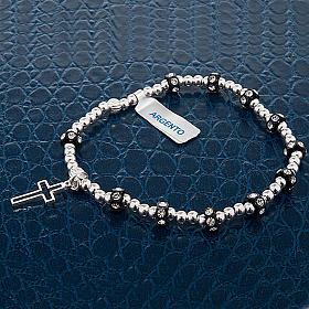 Bracelet élastique argent 800, swarovski noir s3