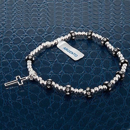 Bracelet élastique argent 800, swarovski noir 3
