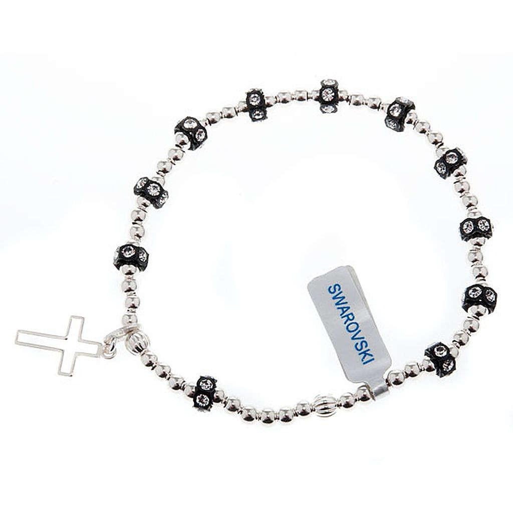 Silver elastic bracelet and Swarovski pearls 4