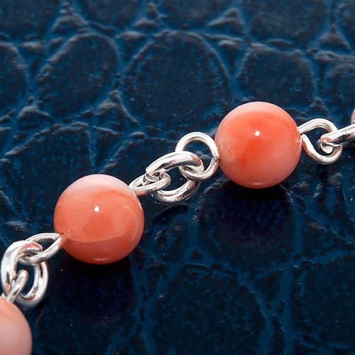 Silver bracelet and coral beads 2