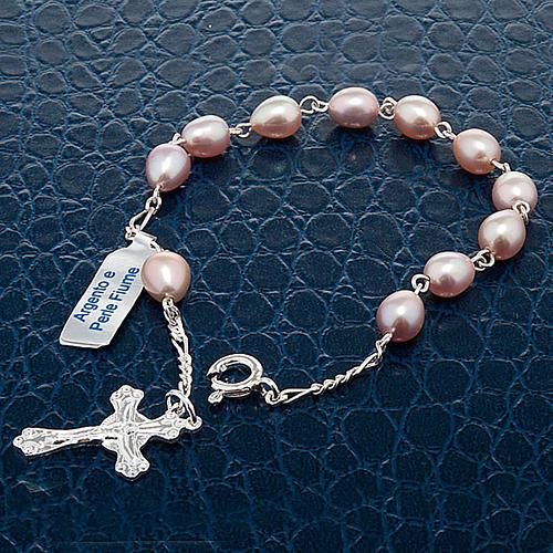 Bracelet dix grains en argent et perles d'eau douce 5