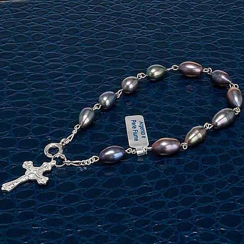 Silver decade bracelet with freshwater pearls 3