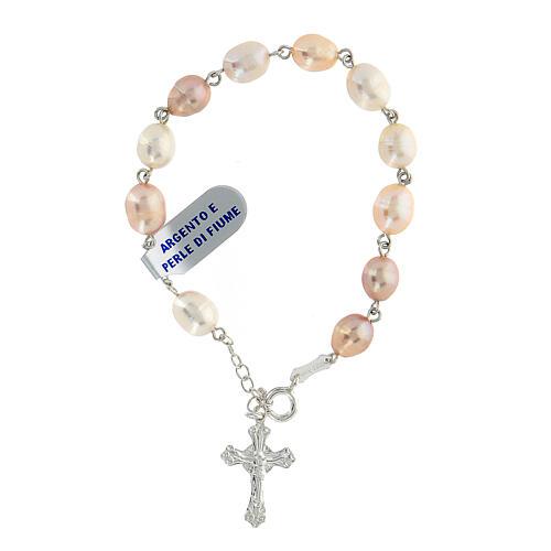 Rosenkranz-Armband Silber 925 Fluss-Perlen 1