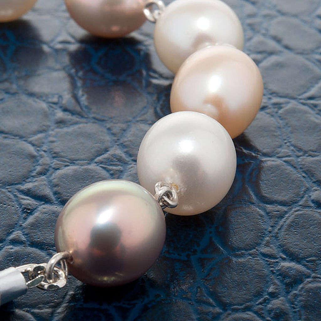 Pulsera decena plata y perlas de río 4
