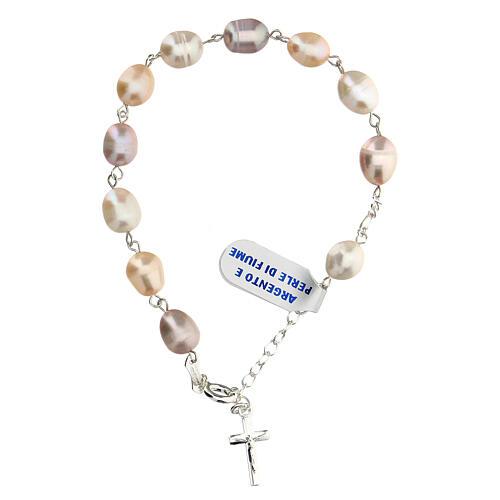 Bracelet dix grains en argent et perles de ruisseau 1